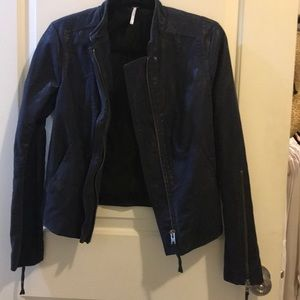 Free People blue moto jacket